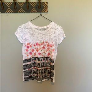 """White floral """"Paris chic"""" t shirt"""